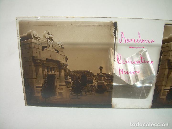 Fotografía antigua: TRES CRISTALES ESTEREOSCOPICO.......CEMENTERIO DE BARCELONA.......CIRCA. 1.900 - Foto 6 - 89886948