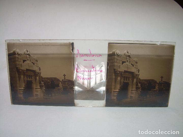Fotografía antigua: TRES CRISTALES ESTEREOSCOPICO.......CEMENTERIO DE BARCELONA.......CIRCA. 1.900 - Foto 7 - 89886948