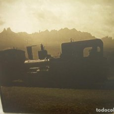 Fotografía antigua: DOS CRISTALES ESTEREOSCOPICOS.......MONTSERRAT- MAQUINA DE TREN- CIRCA. 1.900. Lote 90821290