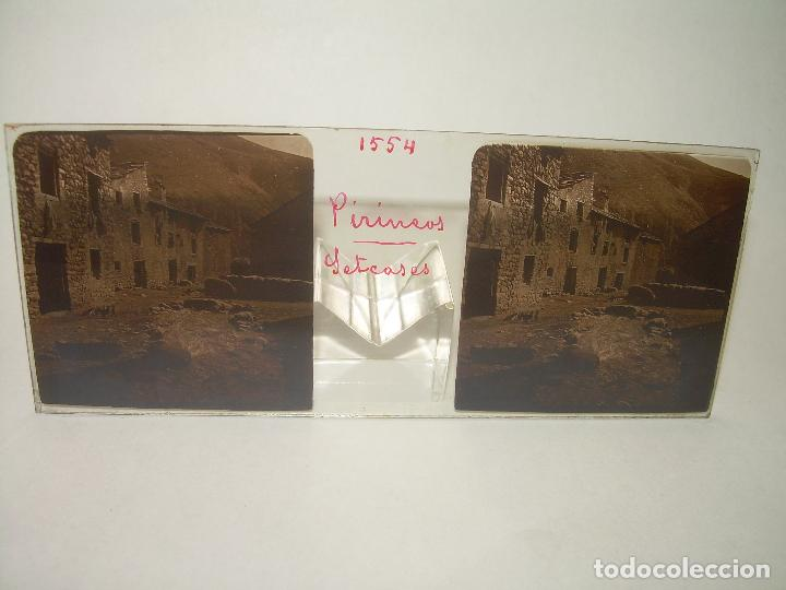 Fotografía antigua: TRES CRISTALES ESTEREOSCOPICOS.......SETCASES...RIPOLLES...VALLTER 2000....CIRCA. 1.900 - Foto 2 - 90835375
