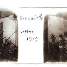 Fotografía antigua: LA GRANADELLA ORIGINAL 1909 LLEIDA LERIDA PLACA POSITIVO CRISTAL FOTOGRAFIA ANTIGUA. Lote 91250060