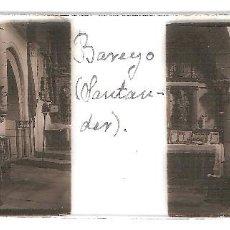 Fotografía antigua: BAREYO CANTABRIA INTERIOR IGLESIA CIRCA 1920 ESTEREOSCOPICAS POSITIVO CRISTAL FOTOGRAFIA ANTIGUA. Lote 92122175