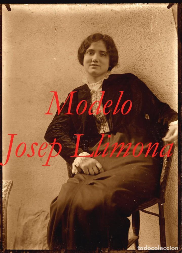 MODELO - ESCULTOR JOSEP LLIMONA - 1900'S - NEGATIVO DE GRAN FORMATO (Fotografía Antigua - Estereoscópicas)