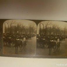 Fotografía antigua: FOTOGRAFIA ESTERESOCOPICA DE CARTON.......TROPAS PRESDENTE ESCORT......AÑO 1.901. Lote 93852880
