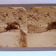 Fotografía antigua: ALHAMA DE ARAGÓN, PASO DEL TREN, 605. FOTO ESTEREO 9X17,5 CM. 1900S. Lote 94295946