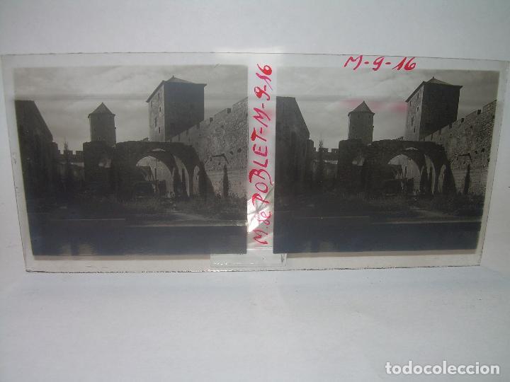Fotografía antigua: CINCO CRISTALES ESTEREOSCOPICOS......MONASTERIO POBLET....CIRCA. 1.900 - Foto 2 - 94491542