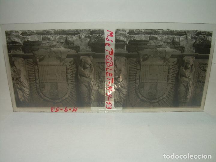 Fotografía antigua: CINCO CRISTALES ESTEREOSCOPICOS......MONASTERIO POBLET....CIRCA. 1.900 - Foto 4 - 94491542