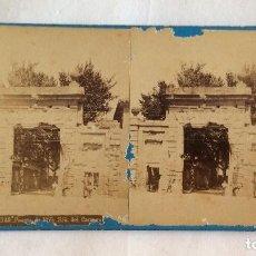 Fotografía antigua: FOTO ESTEREOSCOPICA ALBUMINA. JEAN LAURENT. 1749 PUERTA DE NTRA. SRA. DEL CARMEN. ZARAGOZA.. Lote 97632239