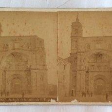 Fotografía antigua: FOTO ESTEREOSCOPICA ALBUMINA. JEAN LAURENT. 1667 FACHADA DE LA IGLESIA DE SANTA ENGRACIA. ZARAGOZA.. Lote 97633791