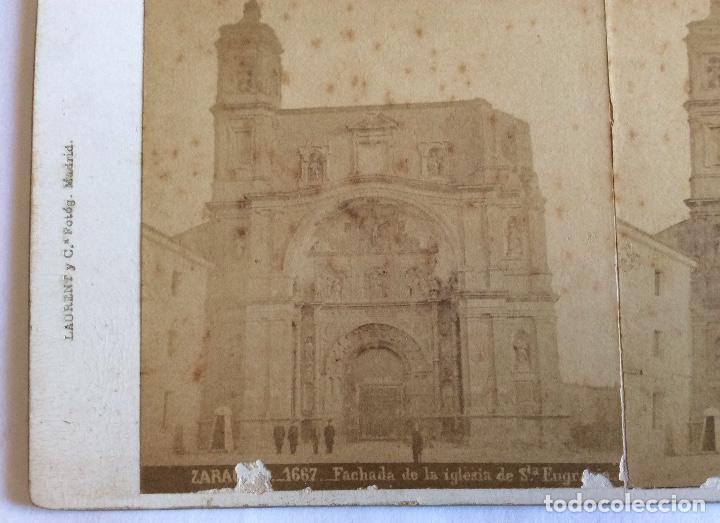 Fotografía antigua: FOTO ESTEREOSCOPICA ALBUMINA. JEAN LAURENT. 1667 FACHADA DE LA IGLESIA DE SANTA ENGRACIA. ZARAGOZA. - Foto 2 - 97633791