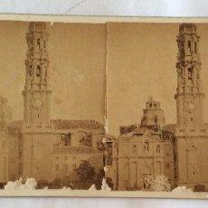 Fotografía antigua: FOTO ESTEREOSCOPICA ALBUMINA. JEAN LAURENT. 1675 TORRE DE LA SEO. ZARAGOZA.. Lote 97634043