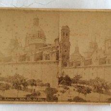 Fotografía antigua: FOTO ESTEREOSCOPICA ALBUMINA. JEAN LAURENT. 1692 IGLESIA DE NUESTRA SEÑORA DEL PILAR. ZARAGOZA.. Lote 97634315
