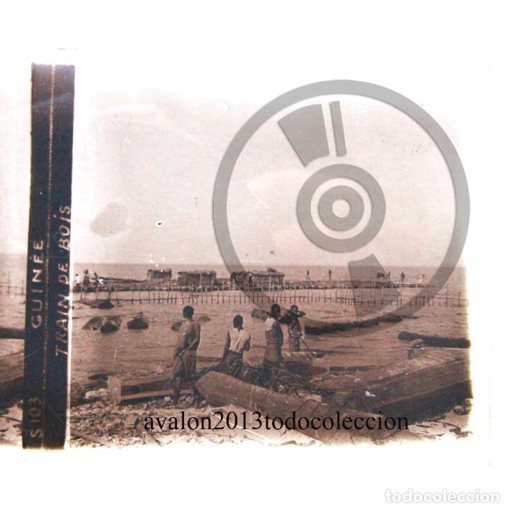 GUINEA - BARCAZAS DE MADERA - CRISTAL ESTEREOSCÓPICO - FOTOGRAFÍA ÚNICA - AÑOS 10/20 (Fotografía Antigua - Estereoscópicas)