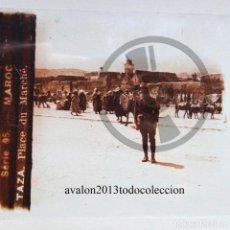 Fotografía antigua: TAZA - MARRUECOS - PLAZA DEL MERCADO - CRISTAL ESTEREOSCÓPICO - FOTOGRAFÍA ÚNICA - AÑOS 10/20. Lote 98386259