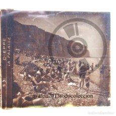 Fotografía antigua: DIEPPE - DIA DE PLAYA - FRANCIA - CRISTAL ESTEREOSCÓPICO - FOTOGRAFÍA ÚNICA - AÑOS 10/20. Lote 98386611