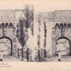 Fotografía antigua: MONASTERIO DE POBLET Nº 3 PUERTA DORADA ESTEROSCOPIA - EDIC FOTOTIPIA THOMAS . Lote 98471947