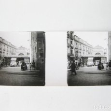 Fotografía antigua: FOTOGRAFIA ESTEREOSCÓPICA DE MADRID. MERCADO Y PLAZA DE SAN ILDEFONSO. Lote 98574499