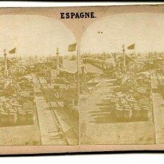 Fotografía antigua: CADIZ VISTA PUERTO ESTEREOSCOPICA GAUDIN 372 S.XIX. Lote 100046939