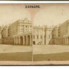 Fotografía antigua: MADRID VISTA PALACIO REAL ESTEREOSCOPICA GAUDIN 68S.XIX. Lote 100047139