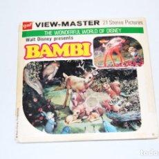 Fotografía antigua: WALT DISNEY BAMBI VIEWMASTER VIEW MASTER COMPLETO VINTAGE 3D ESTEREOSCÓPICO DIAPOSITIVAS. Lote 103188139