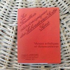 Fotografía antigua: LES FEUILLETS. PUBLICITARIOS DE LABORATORIOS BOTTU. PARIS 3 LAMINAS Y UNAS GAFAS. 3D AÑOS 20. Lote 103682567