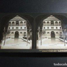 Fotografía antigua: GRANADA ALHAMBRA PATIO DE LOS MIRTOS VISTA ESTEREOSCOPICA H. C. WHITE 1908 . Lote 103874783