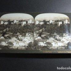 Fotografía antigua: GRANADA ALHAMBRA Y SIERRA NEVADA VISTA ESTEREOSCOPICA H. C. WHITE 1908 . Lote 103875031
