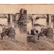 Fotografía antigua: ESTEREOSCÓPICA TOLEDO.- VISTA DEL PUENTE DE SAN MARTÍN. Lote 108911963