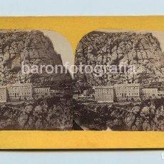 Fotografía antigua: MONTSERRAT, VISTA GENERAL, 1860'S. FOTO: CANTÓ, BARCELONA. 8,5X17,5 CM.. Lote 110826671