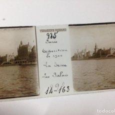Fotografía antigua: ANTIGUA FOTOGRAFIA CRISTAL EL SENA LOS PALACIOS PARÍS EXPOSICION UNIVERSAL 1900. Lote 111996403