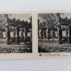 Fotografía antigua: FOTOGRAFIA ESTEREOSCOPICA. LA GRANJA. SEGOVIA 1º SERIE. Nº 13 GONDOLA REAL, DETALLE. W. Lote 113247567