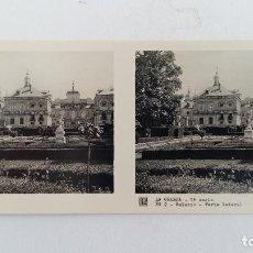 Fotografía antigua: FOTOGRAFIA ESTEREOSCOPICA. LA GRANJA. SEGOVIA 1º SERIE. Nº 2 PALACIO, PARTE LATERAL. W. Lote 113247631