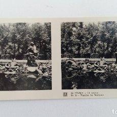 Fotografía antigua: FOTOGRAFIA ESTEREOSCOPICA. LA GRANJA. SEGOVIA 1º SERIE. Nº 9 FUENTE DE NEPTUNO. W. Lote 113247807