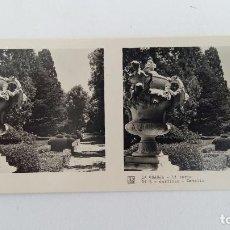Fotografía antigua: FOTOGRAFIA ESTEREOSCOPICA. LA GRANJA. SEGOVIA 1º SERIE. Nº 5 JARDINES, DETALLE. W. Lote 113247907