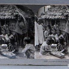 Fotografía antigua: VISTA ESTEREOSCÓPICA FILIPINAS ISLA LUZÓN NIÑOS JUGANDO KEYSTONE VIEW COMPANY PP S XX. Lote 113590923