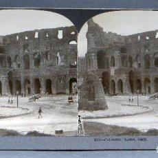 Photographie ancienne: VISTA ESTEREOSCÓPICA ITALIA ROMA COLISEO KEYSTONE VIEW COMPANY PP S XX. Lote 113679923
