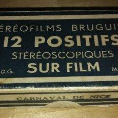 Fotografía antigua: CARNAVAL DE NIZA 12 POSITIVOS ESTEREOSCÓPICOS SOBRE FILM EN SU CAJA ORIGINAL - FOTOS ESTEREOSCÓPICAS. Lote 117384271