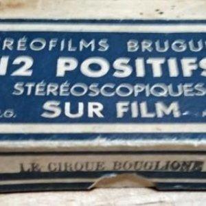 LE CIRQUE BOUGLIONE 10 positivos estereoscópicos sobre film en caja original - circo - payasos