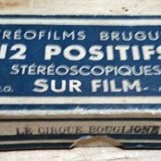 Fotografía antigua: LE CIRQUE BOUGLIONE 10 POSITIVOS ESTEREOSCÓPICOS SOBRE FILM EN CAJA ORIGINAL - CIRCO - PAYASOS. Lote 117385931