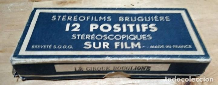 Fotografía antigua: LE CIRQUE BOUGLIONE 10 positivos estereoscópicos sobre film en caja original - circo - payasos - Foto 2 - 117385931