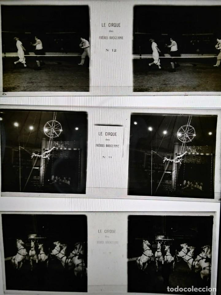 Fotografía antigua: LE CIRQUE BOUGLIONE 10 positivos estereoscópicos sobre film en caja original - circo - payasos - Foto 6 - 117385931