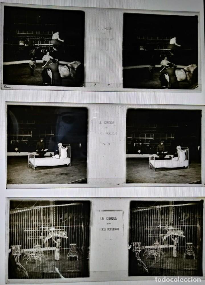 Fotografía antigua: LE CIRQUE BOUGLIONE 10 positivos estereoscópicos sobre film en caja original - circo - payasos - Foto 7 - 117385931