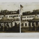 Fotografía antigua: FUENTE O KIOSKO - PLACA ESTEREOSCOPICA DE CRISTAL - 16 X 8,5 CM. Lote 120460339