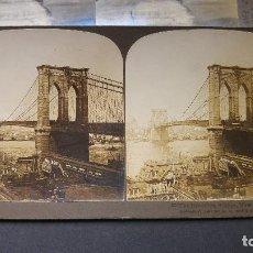 Fotografía antigua: FOTOGRAFIA ESTEREOSCOPICA PUENTE DE BROOKLYN NEW YORK. Lote 120891271