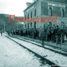 Fotografía antigua: FERROCARRIL - ESTACIÓN LA MOLINA - 1930'S - NEGATIVO DE ACETATO - 6 X 6 CM. . Lote 123532283