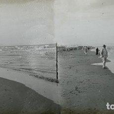 Old photograph - VALENCIA. PLAYA EL CABAÑAL. AÑO 1909 - CRISTAL POSITIVO ESTEREOSCOPICO - 124276579