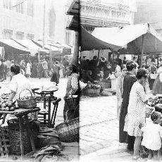 Fotografía antigua: VALENCIA - MERCADO EN LA LONJA - NEGATIVO EN CRISTAL ESTEREOSCOPICO - AÑOS 1920-30. Lote 128366251