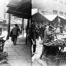 Fotografía antigua: VALENCIA - MERCADO EN LA LONJA - NEGATIVO EN CRISTAL ESTEREOSCOPICO - AÑOS 1920-30. Lote 128366935