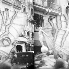 Fotografía antigua: VALENCIA. CABALGATA, CALLE DE LA PAZ, ALMACENES, PELUQUERO - ANTIGUO CRISTAL NEGATIVO ESTEREOSCOPICO. Lote 128425887