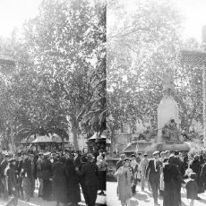Fotografía antigua: VALENCIA. CRUZ DE MAYO, FUENTE MARQUES DEL CAMPO,PLAZA EMILIO CASTELAR, POR MARIANO BENLLIURE. Lote 128431907